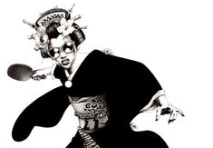 Japanese artist Shohei Otomo (aka Hakuchi) shows us that his motherland has a rockin' pop culture like no other. Using simple ballpoint pen, he mixes old and new school images with his references to the Samurai, Geisha girls, and the Yakuza.