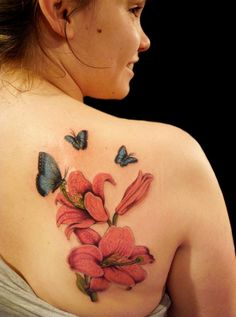 Beautiful Butterfly Lily Tattoos for Women