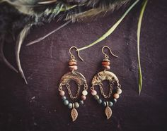Gold and Green Gypsy Earrings with Gold by MusingTreeStudios