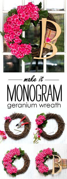 Monogram wreath with geraniums. Pink wreath for Spring. Spring wreath ideas for front door. Door wreath ideas and DIY. Initial Door Wreaths, Door Monogram, Monogram Wreath, Front Door Decor, Wreaths For Front Door, Front Porch, Pinterest Board, Diy Wreath Hanger, Diy Door