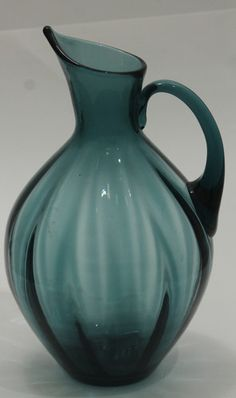 Beautiful, Blenko Glass Pitcher, Large and Heavy, 3-1/2 quarts, Blue/Slate Color