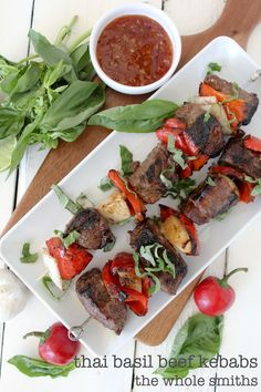 Thai Basil Beef Kebabs from the Whole Smiths. The ULTIMATE BBQ dish. Gluten-free, paleo friendly and crazy easy to make on the grill.