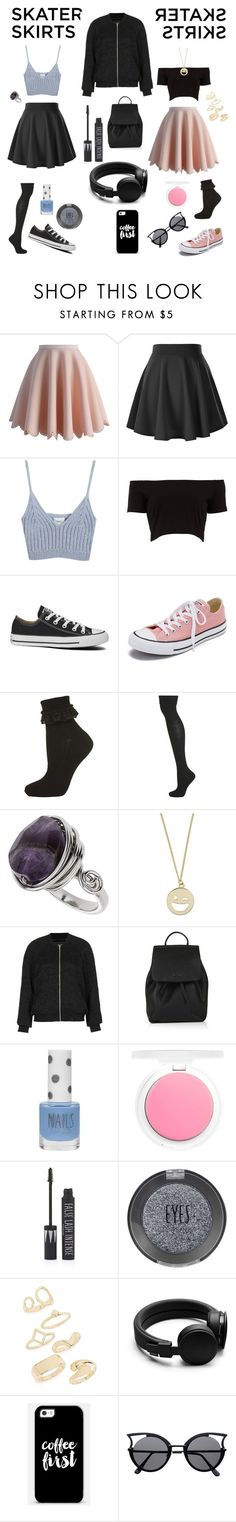"""Skater Skirts"" by smyyylan on Polyvore featuring Chicwish, Chicnova Fashion, Converse, Topshop, Urbanears and Casetify"