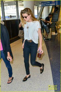 Skinny jeans & loafers- Amber Heard