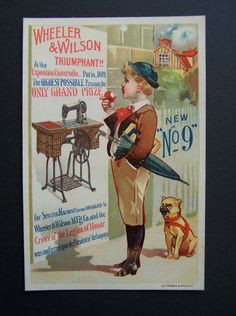 Victorian Trade Card Wheeler Wilson Sewing Machine Boy Pug Dog