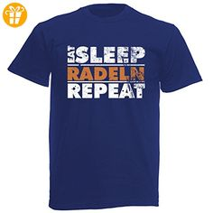 T-Shirt Farbe: Blau, Motiv: Eat Sleep Radeln Repeat - Shirts mit spruch (*Partner-Link)