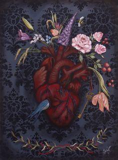 """Garden Anatomy"" original painting by LoriAnn. Anatomical heart,Valentine's Day,lowbrow,pop-surrealism,surrealism. 18x24"" stretched gallery canvas,acrylics. www.facebook.com/alteredposhbyloriann"