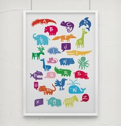 "Kinderposter ""Tier ABC"" für das Kinderzimmer, Buchstaben, bunt // print, animal alphabet, kids, baby room, colorful by nanajuu via de.dawanda.com/?utm_content=buffer90820&utm_medium=social&utm_source=pinterest.com&utm_campaign=buffer"