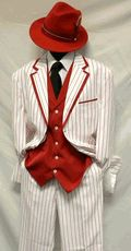 Milano Moda White with Red Stripe Vested Zoot Suit Costume 5908V - click to enlarge