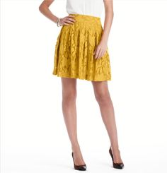 Lace Pleated Skirt, in Mustard or Cabernet, a fall steal for $49.99! (cc: @sbedrick)