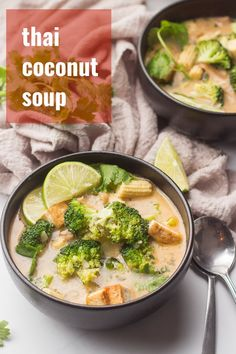 This Thai coconut soup is rich, satisfying, and full of flavor! Made with a creamy spiced coconut milk base, crispy pan-fried tofu, tender . Healthy Soup Recipes, Delicious Vegan Recipes, Raw Food Recipes, Veggie Recipes, Chili Recipes, Thai Coconut Soup, Coconut Milk, Thai Soup, Lemongrass Soup