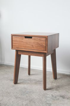 Ventura Night Stand - Solid Walnut Tapered Leg Nightstand - Bedside Table