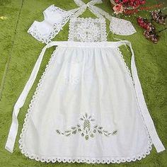 SET-Victorian-Battenburg-Lace-Apron-Collar-Bonnet-White-Maid-Costume-Romantic