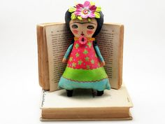 Blooming Frida with pink flower handmade plush art doll by Danita Art