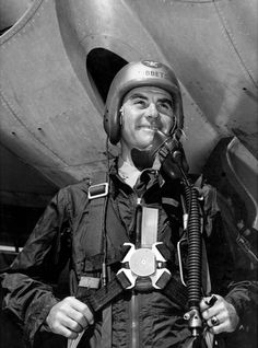[Photo] Tibbets posing in front of an aircraft in full pilot gear, date unknown Enola Gay, Nuclear War, Hiroshima, Movie Photo, Warfare, World War Ii, Air Force, Ohio, Pilot