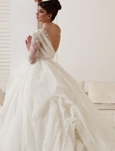 Anny Lin Couture - Asymmetric Ball Gown in Organza