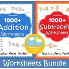 Addition and Subtraction Worksheets!  Enjoy these 2000+ worksheets!  This is a bundle of my addition and subtraction worksheets products.  The cont...
