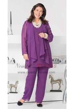 36d6522cea4 Purple Plus Size Mother of the Bride Pant Suits Dressy Pant Suits