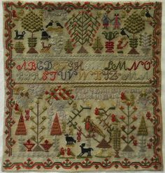19TH CENTURY MOTIF SAMPLER BY MARY ANN ROWLANDS AGED 10 - 1872
