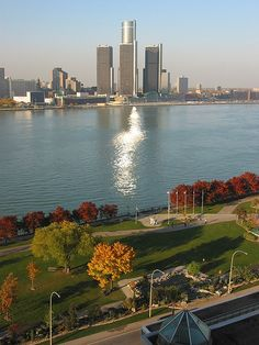 Windsor and Detroit. Only a river divides the US from Canada in Detroit. This photo was taken from the Canadian side.