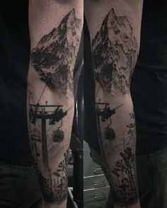 Dotwork sleeve with mountain and forest. Tattoo by Alex Oberov - # Winter Tattoo, Snow Tattoo, Wild Tattoo, Bike Tattoos, 13 Tattoos, Trendy Tattoos, Sexy Tattoos, Tattoos For Guys, Sport Tattoos