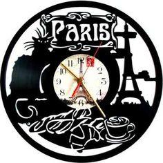 Reloj De Pared En Disco De Acetato,o Lp Paris Cafe