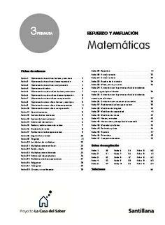 Fichas de Refuerzo y Ampliación de Matemáticas. 3º. Santillana.