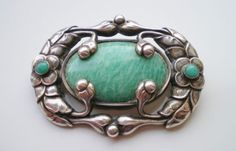 Fine Antique Georg Jensen Silver Green Agate Floral Motif Brooch Design 169