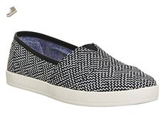 Toms Women's Avalon Slipon Woven Black Geometric Ankle-High Fabric Flat Shoe - 9M - Toms flats for women (*Amazon Partner-Link)