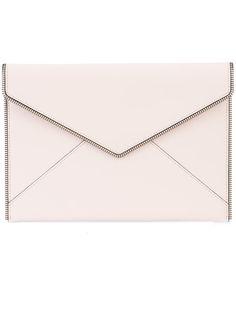 REBECCA MINKOFF chain trim envelope clutch. #rebeccaminkoff #bags #leather #clutch #hand bags #