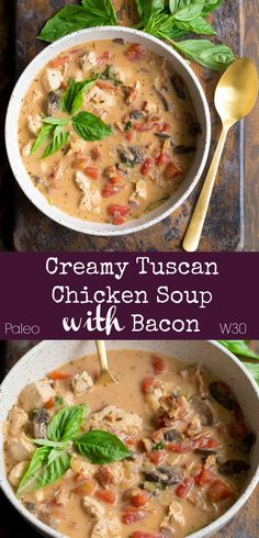 comfort foods Say hello to comfort food season with this Creamy Tuscan Chicken Soup with Bacon! Everything you love in a soup: cozy, delicious, so simple to make, healthy, veggie packed Paleo Chicken Soup, Paleo Soup, Soups With Chicken Broth, Soup Recipes With Chicken, Whole Chicken Soup, Veggie Soup Recipes, Paleo Chili, Dinner Recipes, Bacon Recipes