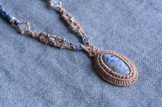 Macrame necklace macrame jewelry Sodalite by EarthCraftHandmade