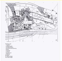 Site plan of Guggenheim Museum Bilbao. 1997 C. Titanium, glass, and limestone. Frank Gehry, Ap Art History 250, Guggenheim Museum Bilbao, Drafting Drawing, Photoshop, Site Plans, Art And Architecture, Case Study, Planer