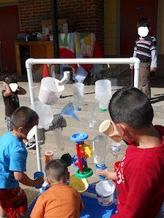 Learning and Teaching With Preschoolers: water wall. I can rig something up I'm sure Outside Activities, Outdoor Activities For Kids, Outdoor Learning, Summer Activities, Outdoor Education, Sensory Activities, Outdoor Play Spaces, Outdoor Fun, Outdoor Stuff