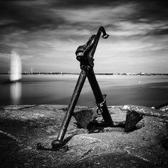 Sailboat and Anchor, Gothenburg, 2014 http://mabrycampbell.com #image #photo #photography #sweden #mabrycampbell #gothenburg #göteborg #blackandwhite #longexposure #motion #sailboat #seascape