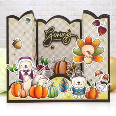 Hi, friends! Welcome to another day of our Thanksgiving Theme Week. It's Marge here sharing a Thanksgiving Bridge Card with you today. Pretty Pink Posh has off items in the Thanksgiving s… Diy Thanksgiving Cards, Thanksgiving Greetings, Fall Cards, Holiday Cards, Christmas Holiday, Christmas Ideas, Christmas Cards, 3d Cards, Folded Cards
