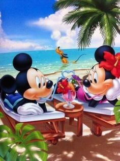 Mickey & Minnie enjoying a malt on the beach while Pluto has some fun in the water