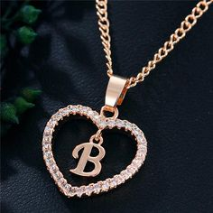 Best Seller Romantic Love Pendant Necklace For Girls 2019 Women Rhinestone Initial Letter Necklace Alphabet Gold Collars Trendy New Charms Letter Pendant Necklace, Letter Pendants, Initial Pendant, Initial Charm, Initial Necklace, B Tattoo, Stylish Alphabets, Gold Collar, Girls Necklaces