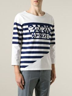 Kenzo White cotton striped logo T-shirt   featuring a round neck and three-quarter length sleeves.  #genteroma