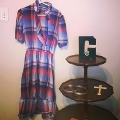 "Vintage Blue/Orange Plaid Beauty. Western feel. Tag reads Galleon. Size 13/14 but more like a medium/large. 38"" bust and 25-32"" waist. Missing belt. $35 shipped. Lower 48 US only."