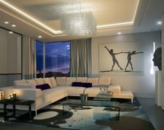 Decorating, Contemporary Living Room With Beautiful Square Chandelier Also White Modern Couch With L Shaped Also Small Purple Cushions And Modern Glass Coffee Table Also Artistic Dancers Image Hanging On The Wall: Rectangle Chandelier for Your Room