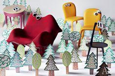 Столик, дерево, Pierre Collection, 69 600 руб.; кресло Ravioli, пластик, текстиль, Vitra, 225 900 руб.; стулья Amelie Sedia, кожа, Poltrona Frau, 28 380 руб. каждый; столик Cicognino, дерево, Cassina, 48 240 руб.
