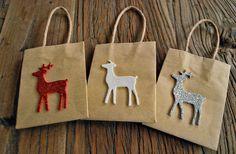 christmas gift bags mini kraft bags reindeer gift by oscarandollie, $11.00