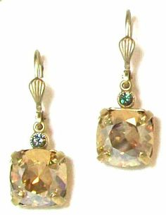 """Catherine Popesco 14k Gold Plated Square-Cut Champagne Colored Swarovski Crystal Drop Earrings Catherine Popesco. $52.95. 1/2"""" Champagne Square-Cut Swarovski Crystal Earrings. Made in France and designed by Catherine Popesco. We use Swarovski crystal, the finest Austrian crystal available. Vintage inspired. 14 carat gold antiqued finish over a copper base"""
