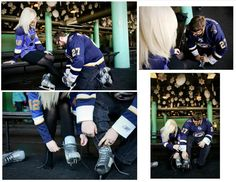 Louis Blues Hockey themed engagement photos at Steinberg Rink in Forest Park - Credit: Brea Photography. Oh my lawd I LOVE it Hockey Engagement Photos, Hockey Wedding, Just A Game, Pre Wedding Photoshoot, Beautiful Songs, Kids Sports, Sport Man, Athletic Wear, Dream Wedding