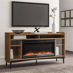 """Ivy Bronx Gutierrez TV Stand for TVs up to 60"""" with Fireplace Included & Reviews 