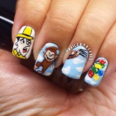 Curious George   15 Works Of Nail Art Inspired By Your Favorite Children's Books #nailart