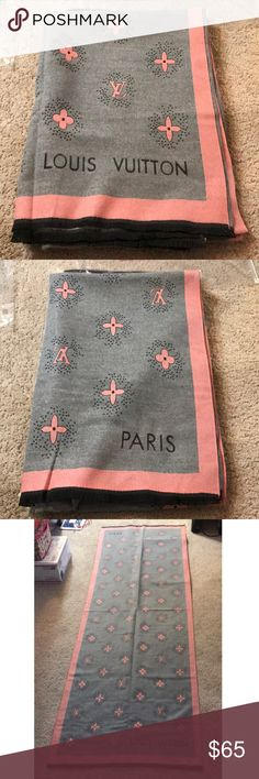 LV Pink grey scarf Cashmere wool material rectangle  70X15 Very light but thick and warm for winter Louis Vuitton Accessories Scarves & Wraps