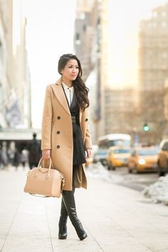 Long dress and coat and umbrella