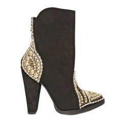 BALMAIN 110MM suede P Swarovski Crystal Studded boots $232
